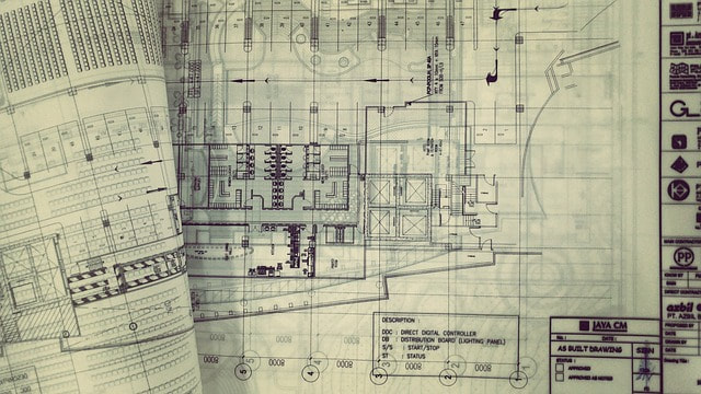 large set of construction drawings